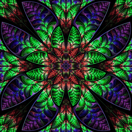 generating: Multicolor symmetric pattern of the leaves. Collection - tree foliage. In red, blue, green palette.