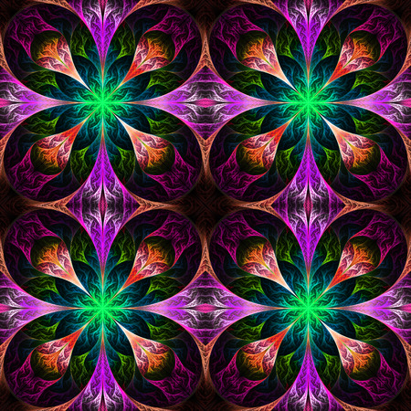 feelers: Pattern from four fractals  in black, purple and green. Computer generated graphics.