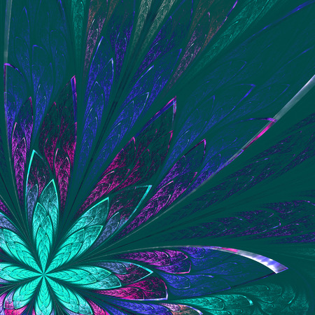 Beautiful fractal flower in green and blue on green background. Computer generated graphics. photo
