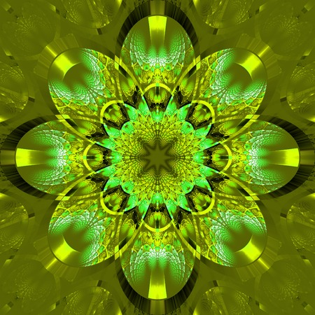 rhinestones: Symmetrical fractal pattern with shiny strips. Collection -  rhinestones. On olive background.