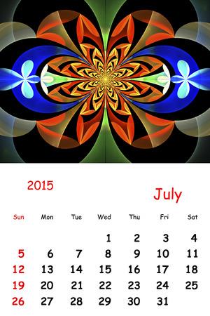 july calendar: 2015. Julio. Calendario con hermoso patr�n fractal. Foto de archivo