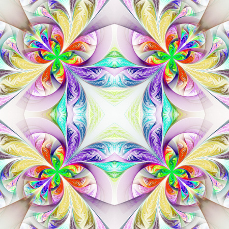 tracery: Symmetric multicolored fractal tracery. Collection - frosty pattern. On white.
