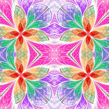 Symmetrical multicolored pattern in stained-glass window style. Blue and red palette. Computer generated graphics. photo