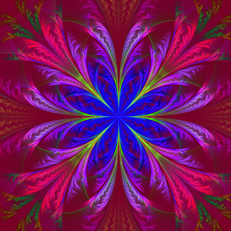 feelers: Beautiful multicolor fractal flower. Collection - frosty pattern. Computer generated graphics. Stock Photo