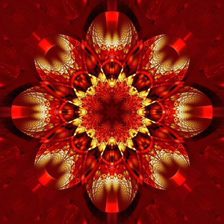 rhinestones: Symmetrical fractal pattern with shiny strips. Collection -  rhinestones. On red background.