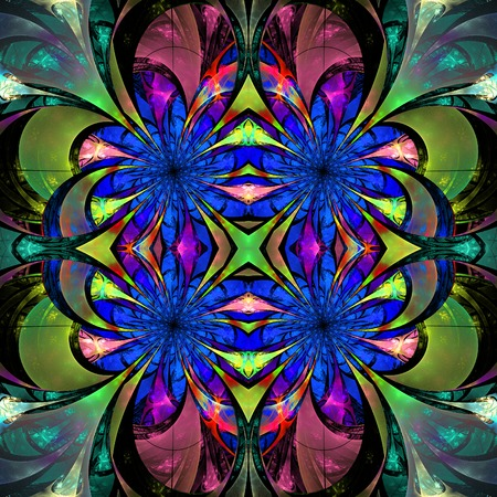 Pattern from fractal Flowers. Darkblue, green and purple palette. Fractal design. Computer generated graphics. photo