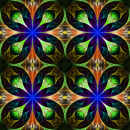 feelers: Pattern from four fractals  in black, blue and green. Computer generated graphics. Stock Photo