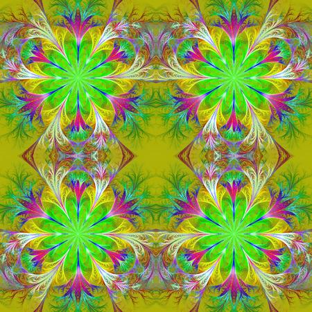 feelers: Beautiful pattern in fractal design. Collection - frosty pattern. Green palette.