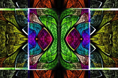 Multicolored symmetrical geometric pattern in stained glass style. On black. Computer generated graphics.