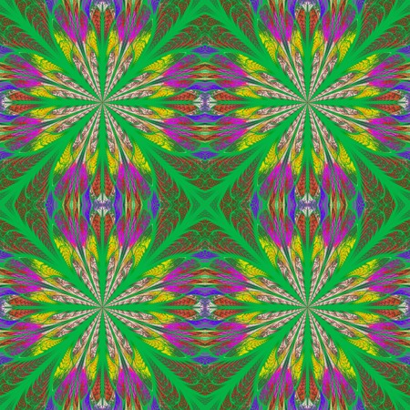 symmetrical: Symmetrical pattern in stained-glass window style. Yellow and green palette. Computer generated graphics.