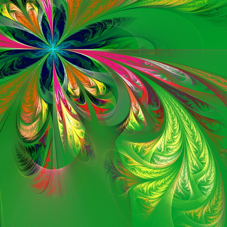 tracery: Diagonal asymmetrical multicolor fractal tracery. Collection - frosty pattern. On green.