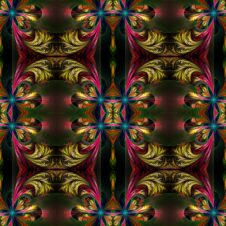tracery: Beautiful symmetrical background from fractal tracery. On black. Stock Photo