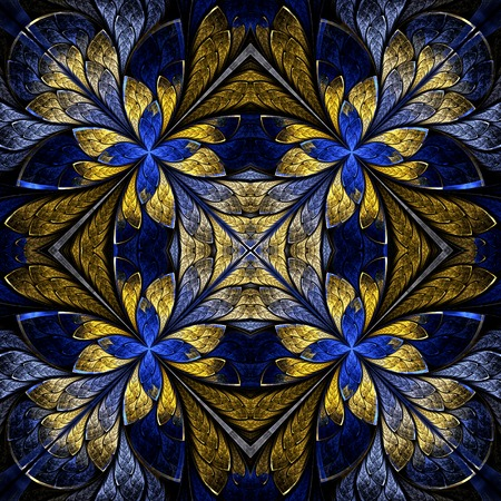 Symmetrical pattern in stained-glass window style. Blue and yellow palette. Computer generated graphics. photo