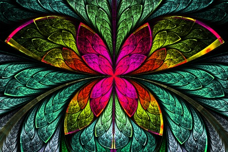 tress: Multicolored symmetrical fractal pattern as flower or butterfly in stained-glass window style. Computer generated graphics.