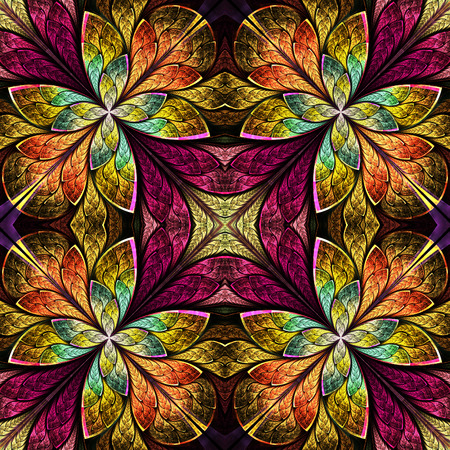Symmetrical pattern in stained-glass window style. Green, yellow and brown palette. Computer generated graphics. photo