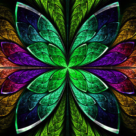 tress: Beautiful fractal flower in green and purple. Computer generated graphics. Stock Photo