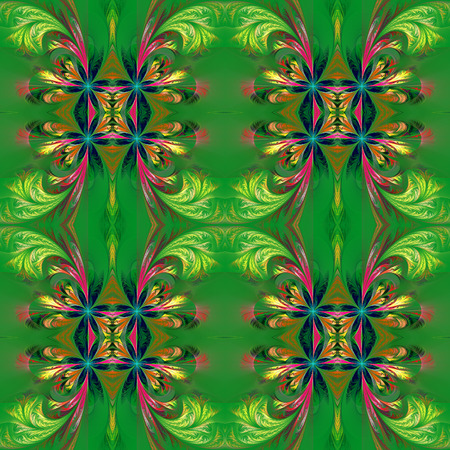 tracery: Beautiful symmetrical background from fractal tracery. On green. Stock Photo