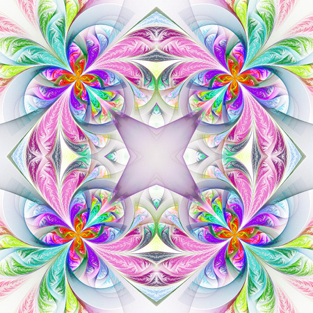 frosty: Symmetric multicolored fractal tracery. Collection - frosty pattern. On white.