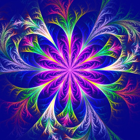 feelers: Beautiful multicolored fractal flower. Collection - frosty pattern. Computer generated graphics.