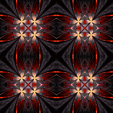 Symmetrical flower pattern in stained-glass window style on light. Beige, orange and brown palette. Computer generated graphics. photo