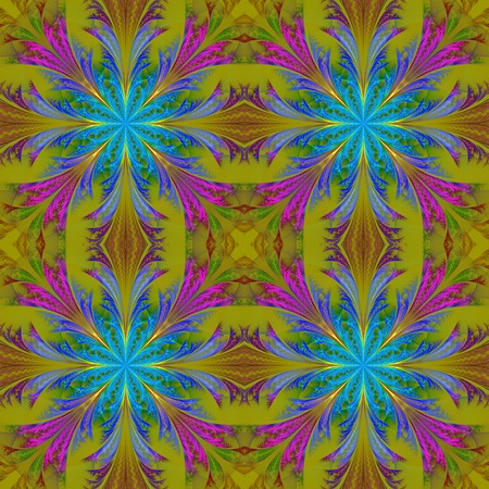 frosty: Beautiful pattern from fractal flowers. Blue and olive palette. Collection - frosty pattern.