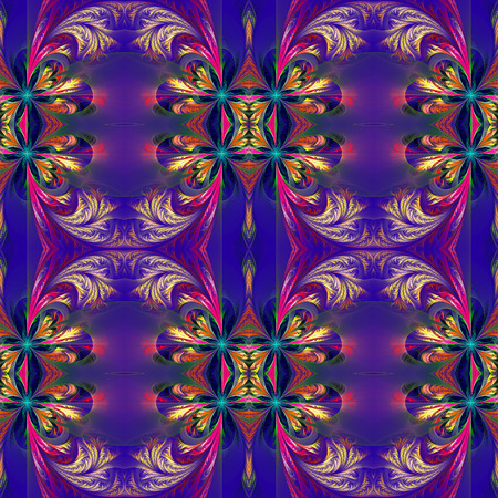 Beautiful symmetrical background from fractal tracery. On dark-blue. Stock Photo