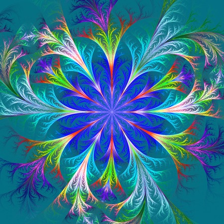 frosty: Beautiful multicolored fractal flower. Collection - frosty pattern. Computer generated graphics.