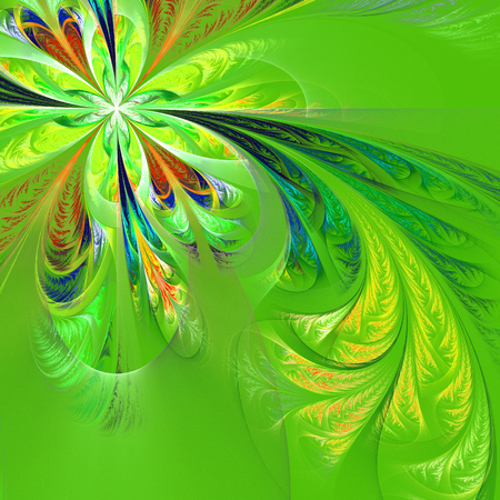 tracery: Diagonal symmetric multicolor fractal tracery. Collection - frosty pattern. On green. Stock Photo
