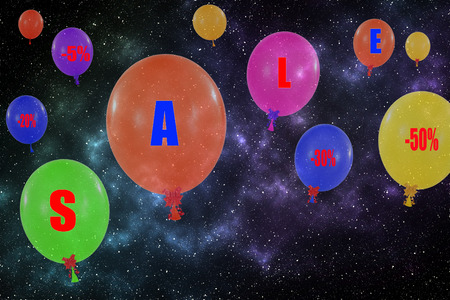 Flying group of balloons in the night sky. Concept of sale message for shop photo