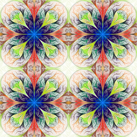 fractals: Pattern from four fractals  in beige, blue and green. Computer generated graphics.