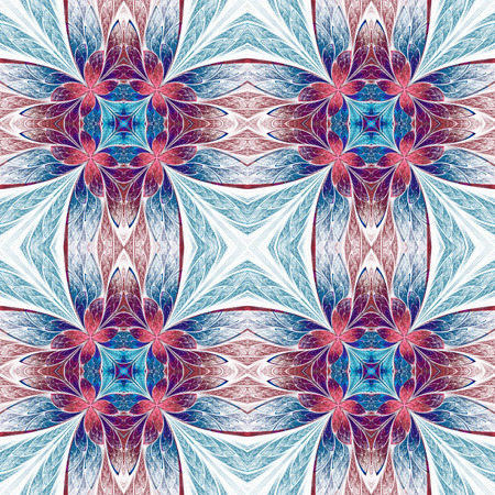 Symmetrical flower pattern in stained-glass window style on light. Blue, pink and purple palette. Computer generated graphics. photo