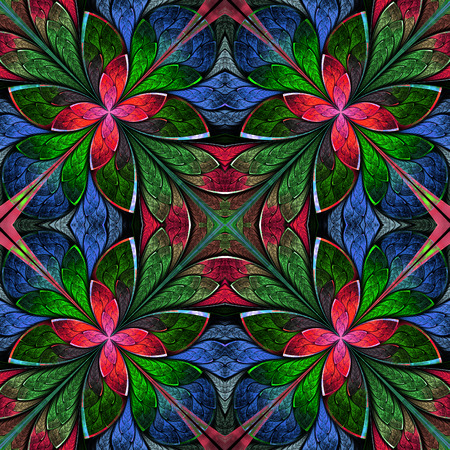 Multicolored symmetrical fractal pattern in stained-glass window style. Computer generated graphics. photo