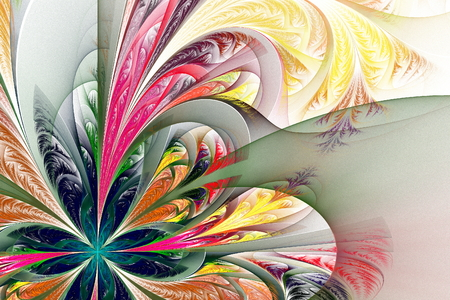 frosty: Diagonal asymmetrical multicolor fractal tracery. Collection - frosty pattern. On white. Stock Photo