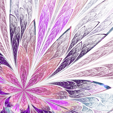 asymmetrical: Asymmetrical fractal flower in stained-glass window style on light. Pink and purple palette. Computer generated graphics. Stock Photo