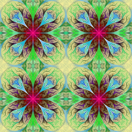 feelers: Pattern from four fractals  in pink, blue and green. Computer generated graphics.