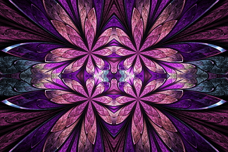 Symmetrical flower pattern in stained-glass window style on black. Pink and purple palette. Computer generated graphics.