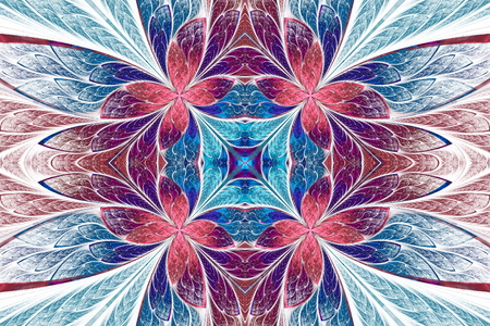 generate: Symmetrical flower pattern in stained-glass window style on light. Blue, pink and purple palette. Computer generated graphics.