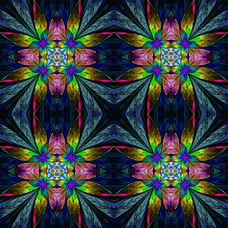generate: Symmetrical multicolored flower pattern in stained-glass window style on darkblue.  Computer generated graphics. Stock Photo