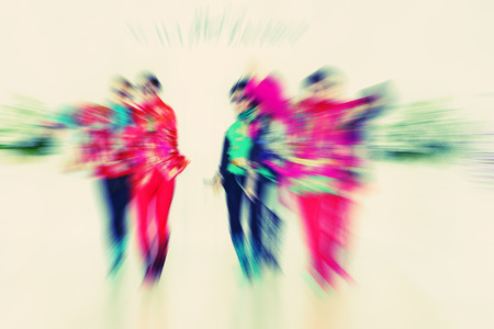 creativ: fashion models on catwalk - radial zoom blur effect defocusing filter applied