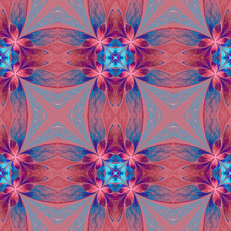 generate: Symmetrical flower pattern in stained-glass window style on pink. Blue, pink and purple palette. Computer generated graphics.