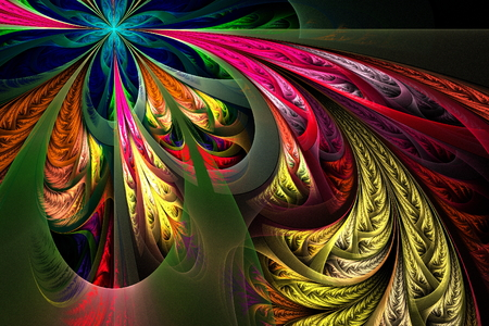 tracery: Diagonal asymmetrical multicolor fractal tracery Stock Photo