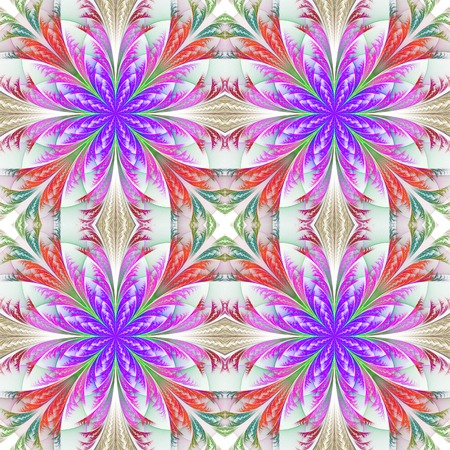 generate: Beautiful pattern from fractal flowers. Blue and purple palette. Collection - frosty pattern. Computer generated graphics. Stock Photo