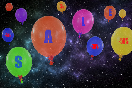 Flying group of balloons in the night sky photo