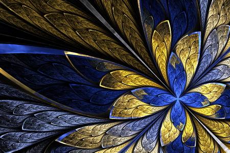フラクタル花や蝶黒でステンド グラスの窓スタイルで。ベージュとブルーのパレット。生成したコンピュータ グラフィックス。 写真素材