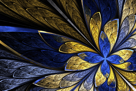 Fractal flower or butterfly in stained-glass window style on black. Beige and blue palette. Computer generated graphics. 스톡 콘텐츠