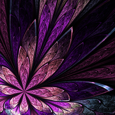 asymmetrical: Asymmetrical fractal flower in stained-glass window style on black. Pink and purple palette. Computer generated graphics. Stock Photo