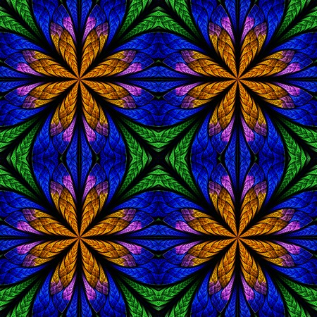 Symmetrical fractal pattern in stained-glass window style. Green, blue and brown palette. On black.
