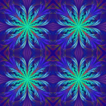 feelers: Beautiful pattern from fractal flowers. Blue palette. Collection - frosty pattern.