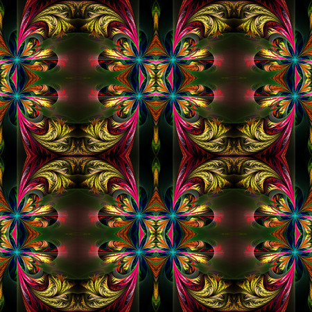 symmetrical: Beautiful symmetrical background from fractal tracery. On black. Stock Photo