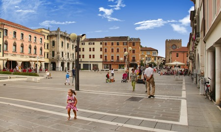 VENICE, MESTRE-June 29, 2014: Mestre on June 29, 2014. Piazza Erminio Ferretto in Italy. Mestre is the most populated urban area of the mainland of Venice, part of the territory of the city of Venice, in Veneto, Italy. 에디토리얼